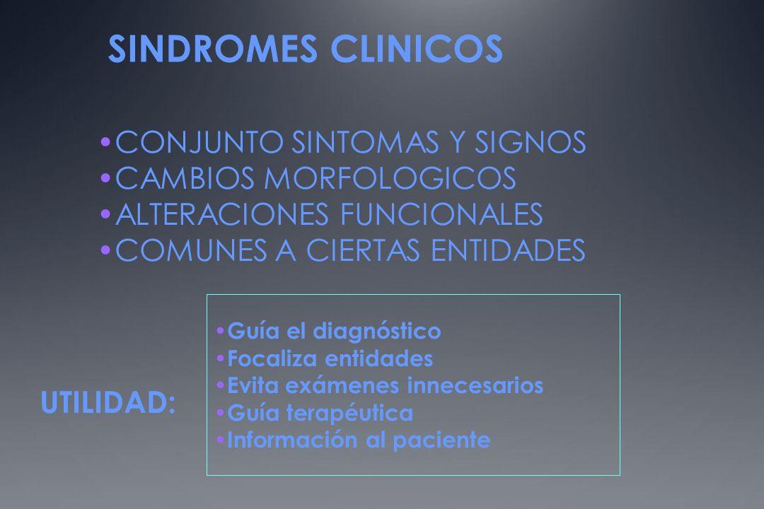SINDROMES CLINICOS CONJUNTO SINTOMAS Y SIGNOS CAMBIOS MORFOLOGICOS ALTERACIONES FUNCIONALES COMUNES A CIERTAS ENTIDADES UTILIDAD: Guía el diagnóstico