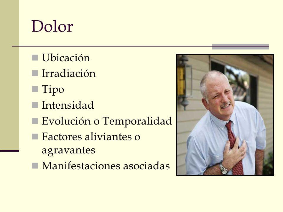 Dolor Ubicación Irradiación Tipo Intensidad Evolución o Temporalidad Factores aliviantes o agravantes Manifestaciones asociadas