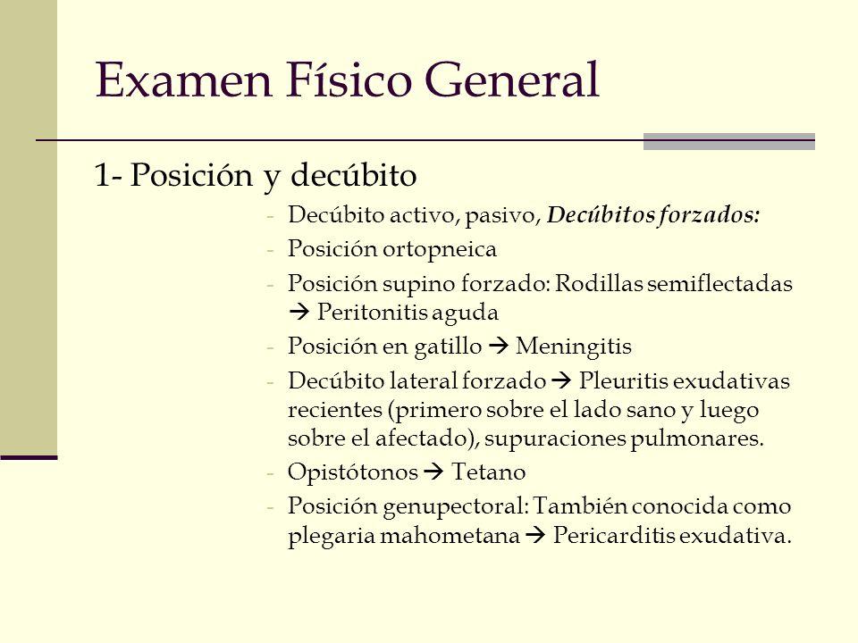 Examen Físico General 1- Posición y decúbito -Decúbito activo, pasivo, Decúbitos forzados: -Posición ortopneica -Posición supino forzado: Rodillas sem