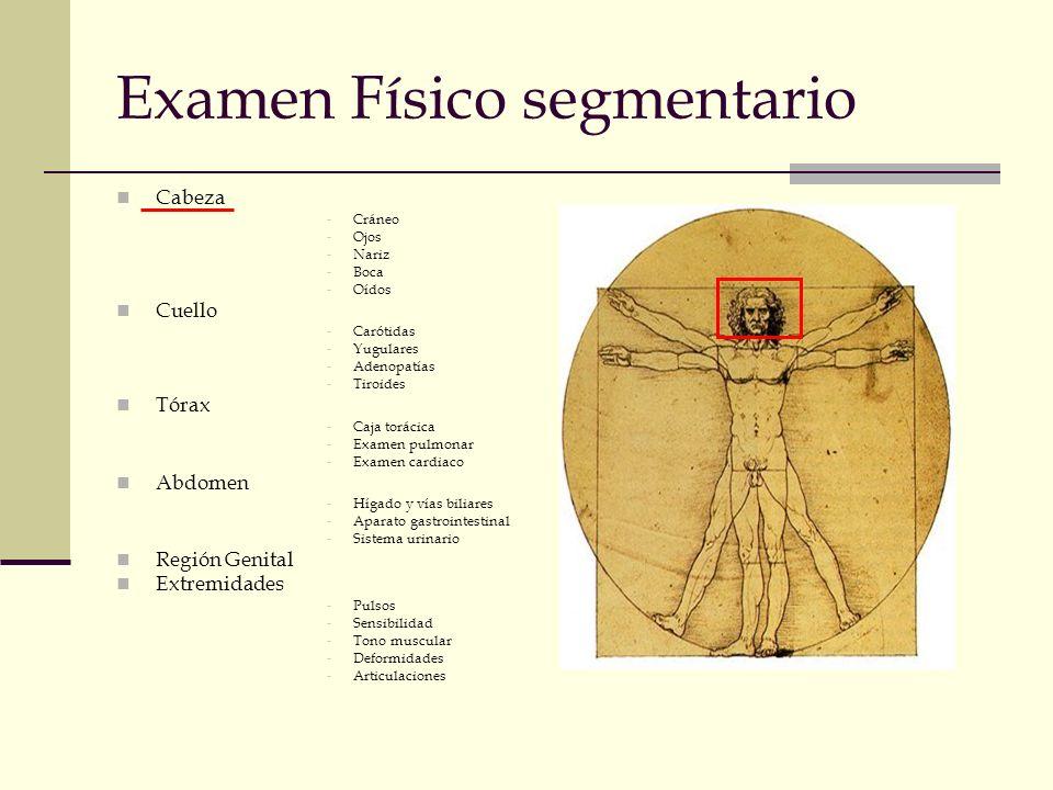 Examen Físico segmentario Cabeza -Cráneo -Ojos -Nariz -Boca -Oídos Cuello -Carótidas -Yugulares -Adenopatías -Tiroides Tórax -Caja torácica -Examen pu