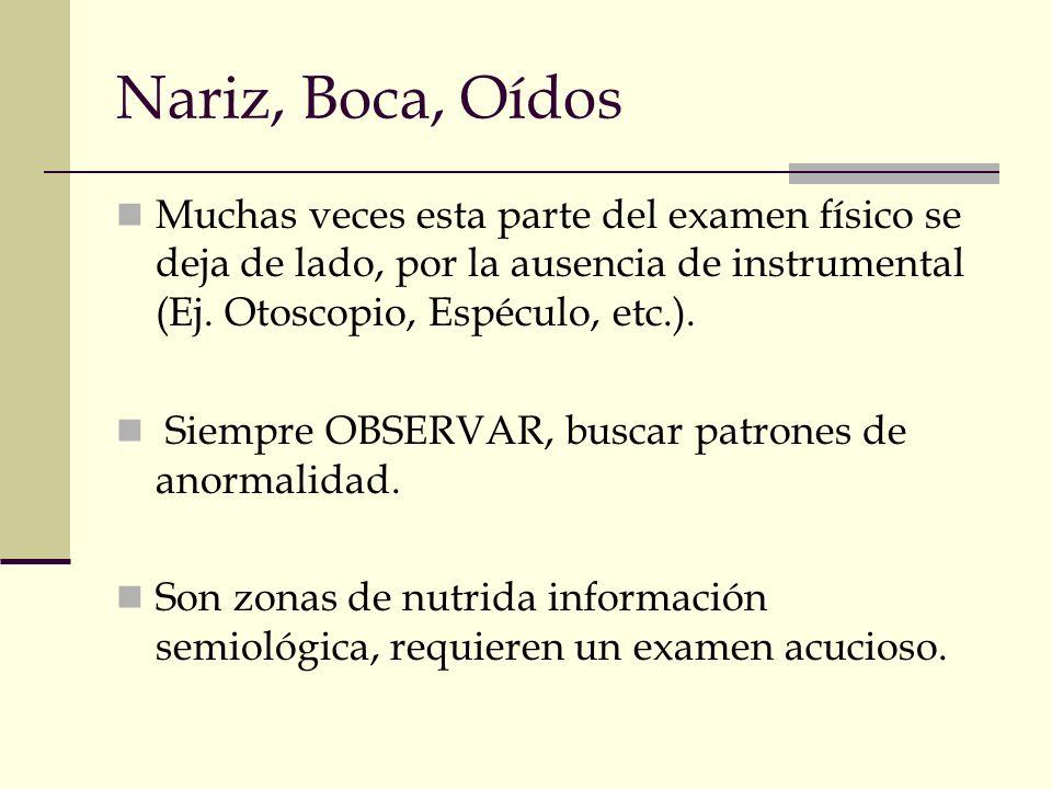 Nariz, Boca, Oídos Muchas veces esta parte del examen físico se deja de lado, por la ausencia de instrumental (Ej. Otoscopio, Espéculo, etc.). Siempre