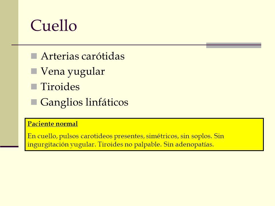 Cuello Arterias carótidas Vena yugular Tiroides Ganglios linfáticos Paciente normal En cuello, pulsos carotideos presentes, simétricos, sin soplos. Si
