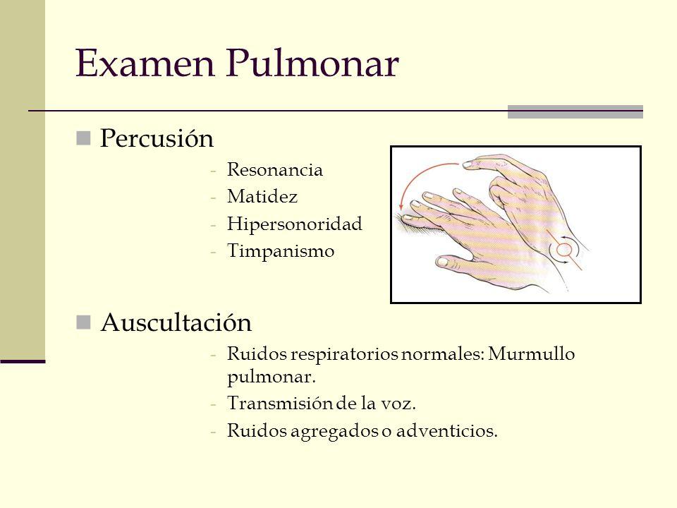 Examen Pulmonar Percusión -Resonancia -Matidez -Hipersonoridad -Timpanismo Auscultación -Ruidos respiratorios normales: Murmullo pulmonar. -Transmisió