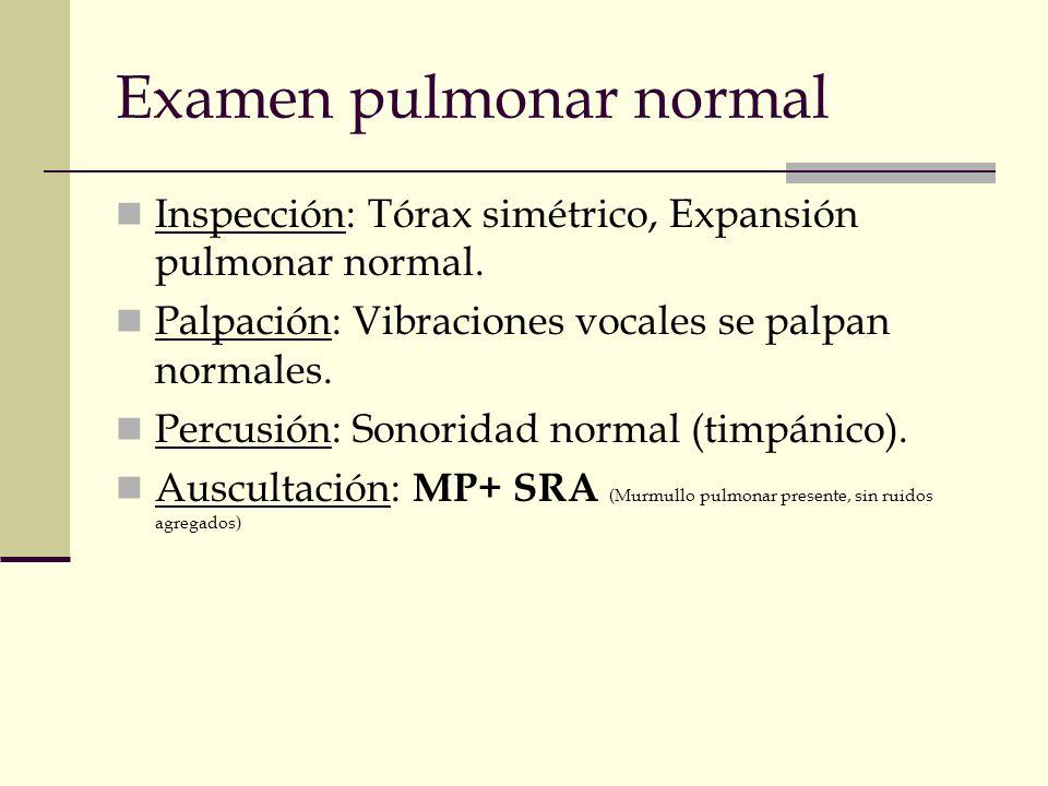 Examen pulmonar normal Inspección: Tórax simétrico, Expansión pulmonar normal. Palpación: Vibraciones vocales se palpan normales. Percusión: Sonoridad
