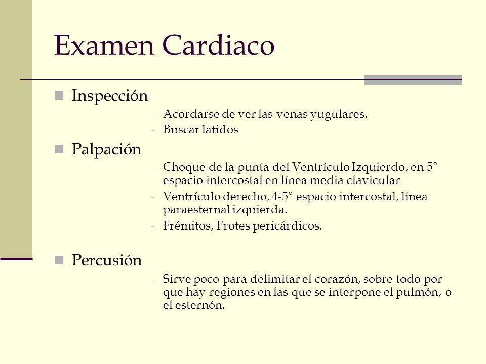 Examen Cardiaco Inspección -Acordarse de ver las venas yugulares. -Buscar latidos Palpación -Choque de la punta del Ventrículo Izquierdo, en 5° espaci