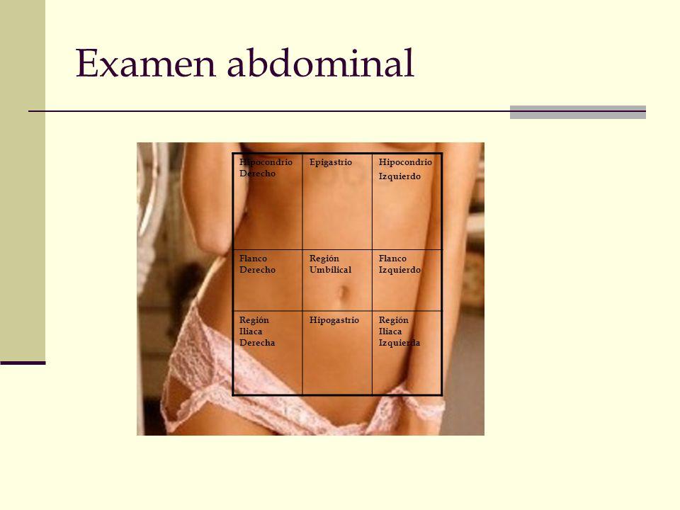 Examen abdominal Hipocondrio Derecho EpigastrioHipocondrio Izquierdo Flanco Derecho Región Umbilical Flanco Izquierdo Región Iliaca Derecha Hipogastri