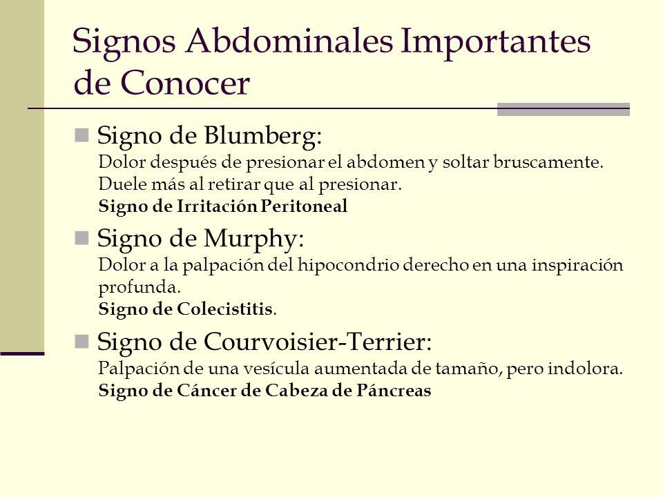 Signos Abdominales Importantes de Conocer Signo de Blumberg: Dolor después de presionar el abdomen y soltar bruscamente. Duele más al retirar que al p