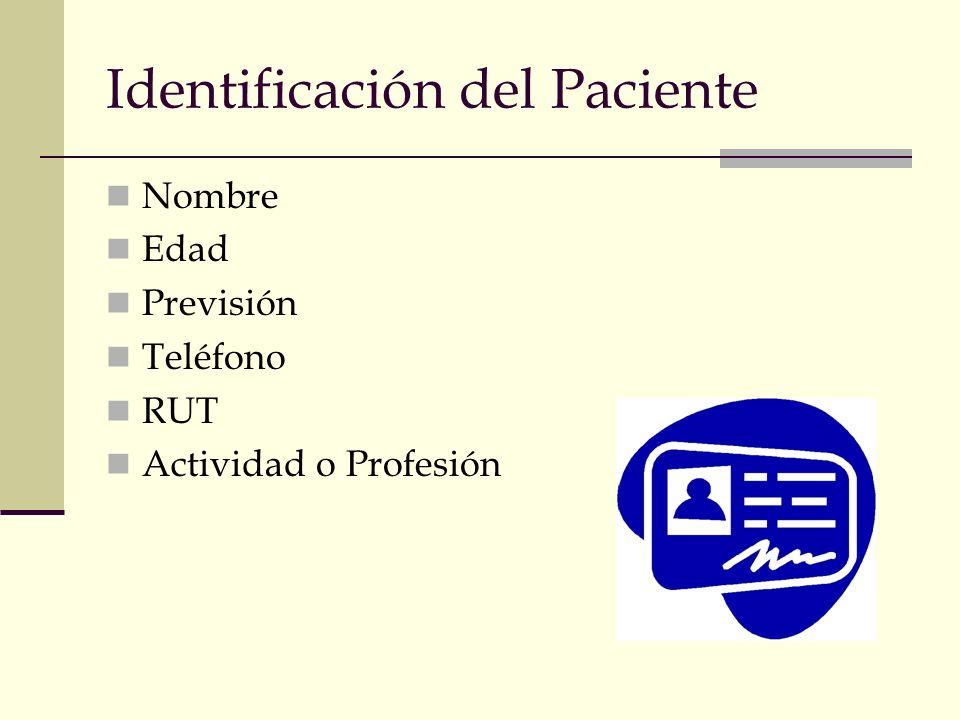 Identificación del Paciente Nombre Edad Previsión Teléfono RUT Actividad o Profesión