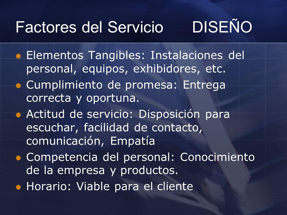 Elementos Tangibles: Instalaciones del personal, equipos, exhibidores, etc. Cumplimiento de promesa: Entrega correcta y oportuna. Actitud de servicio: