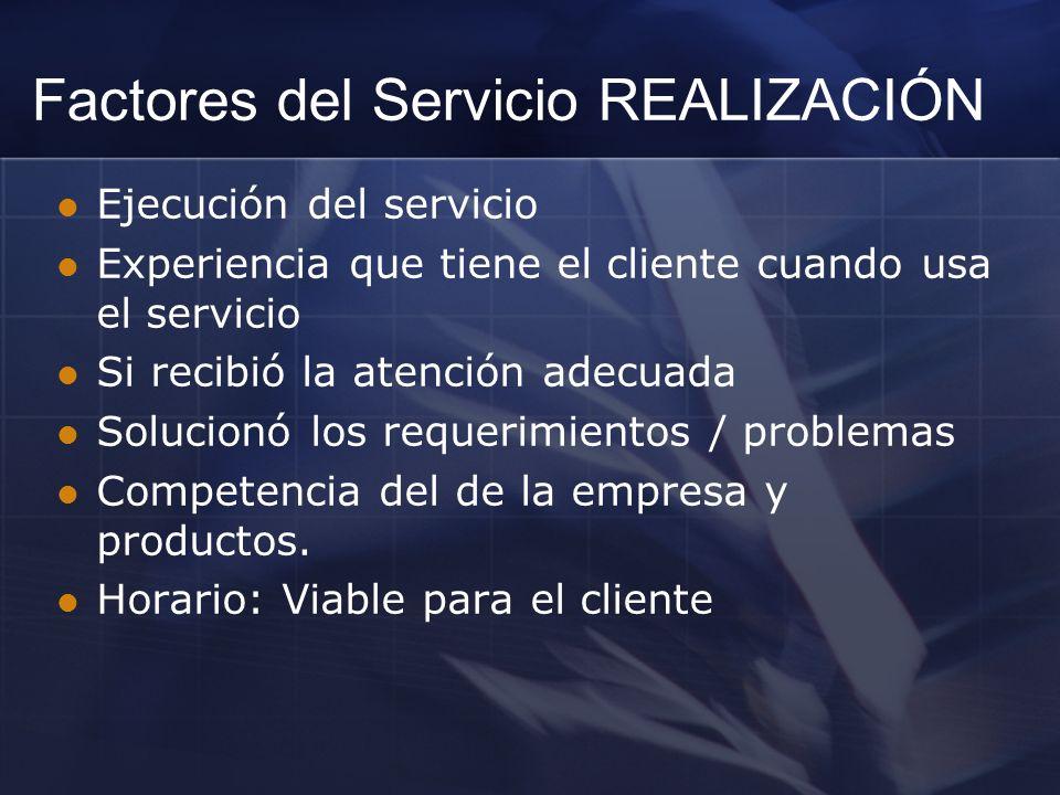 Ejecución del servicio Experiencia que tiene el cliente cuando usa el servicio Si recibió la atención adecuada Solucionó los requerimientos / problema