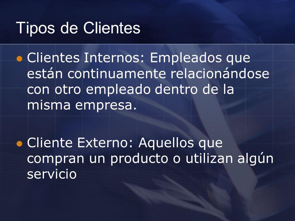 Tipos de Clientes Clientes Internos: Empleados que están continuamente relacionándose con otro empleado dentro de la misma empresa. Cliente Externo: A