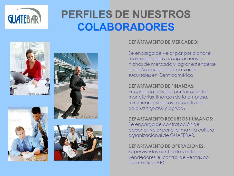 PERFILES DE NUESTROS COLABORADORES DEPARTAMENTO DE MERCADEO: Se encarga de velar por posicionar el mercado objetivo, captar nuevos nichos de mercado y