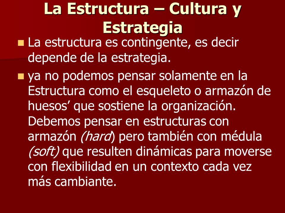 La Estructura – Cultura y Estrategia La estructura es contingente, es decir depende de la estrategia. ya no podemos pensar solamente en la Estructura