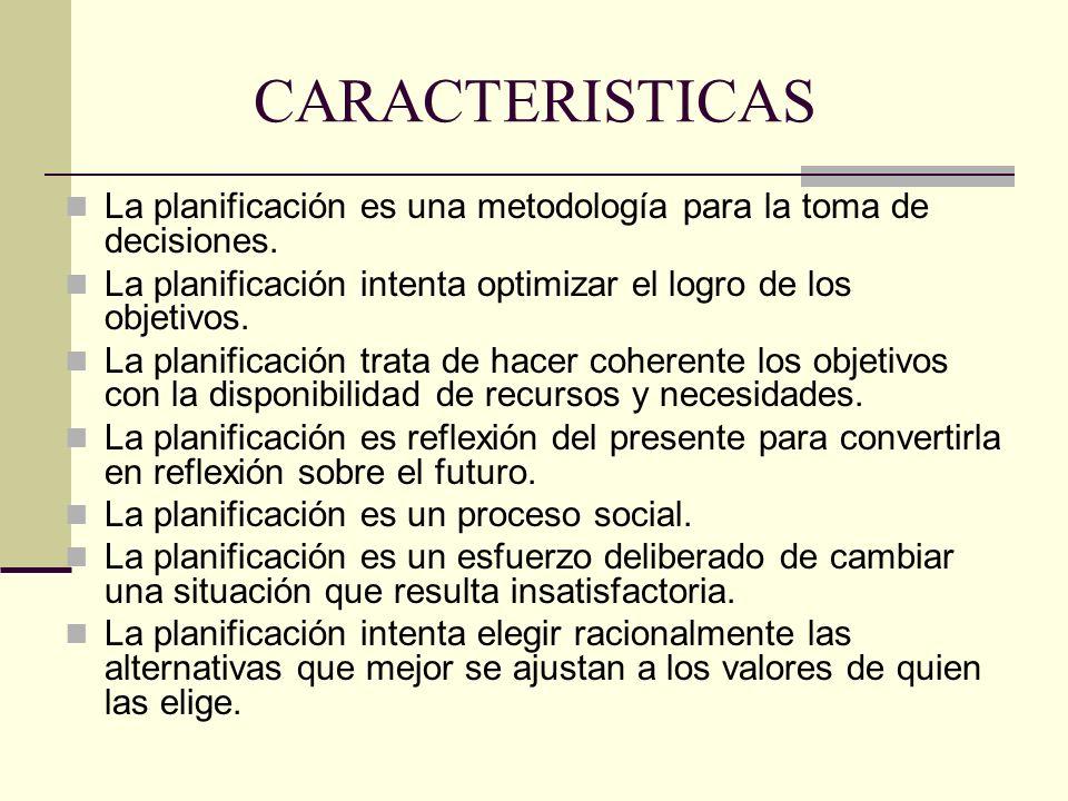 CARACTERISTICAS La planificación es una metodología para la toma de decisiones. La planificación intenta optimizar el logro de los objetivos. La plani