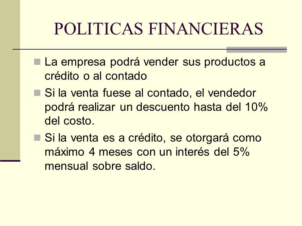 POLITICAS FINANCIERAS La empresa podrá vender sus productos a crédito o al contado Si la venta fuese al contado, el vendedor podrá realizar un descuen