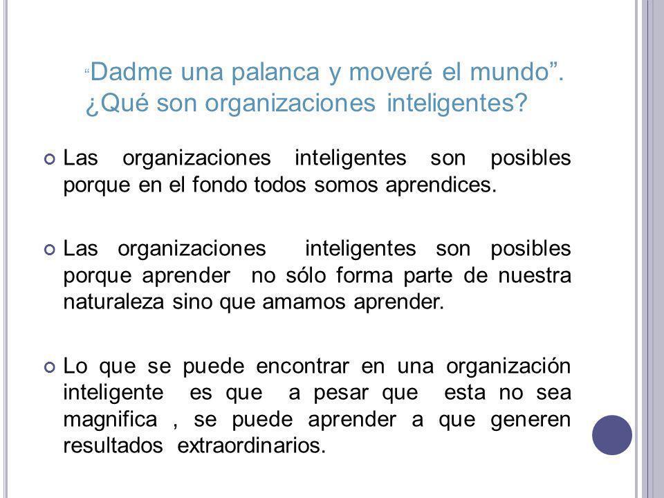 D ISCIPLINAS DE LA ORGANIZACIÓN INTELIGENTE Cinco nuevas tecnologías de componentes para innovar las organizaciones inteligentes.