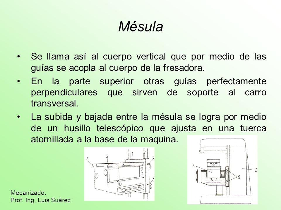Mésula Se llama así al cuerpo vertical que por medio de las guías se acopla al cuerpo de la fresadora. En la parte superior otras guías perfectamente