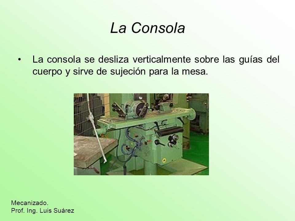 La Consola La consola se desliza verticalmente sobre las guías del cuerpo y sirve de sujeción para la mesa. Mecanizado. Prof. Ing. Luis Suárez