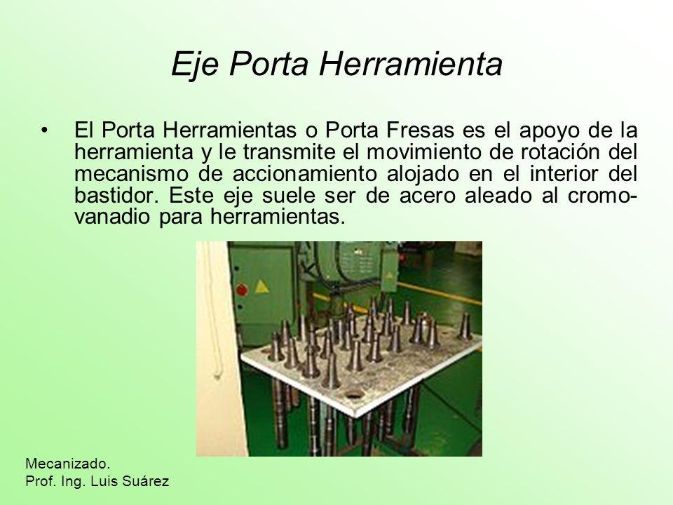 Eje Porta Herramienta El Porta Herramientas o Porta Fresas es el apoyo de la herramienta y le transmite el movimiento de rotación del mecanismo de acc