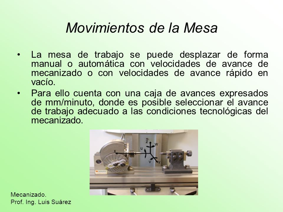 Movimientos de la Mesa La mesa de trabajo se puede desplazar de forma manual o automática con velocidades de avance de mecanizado o con velocidades de