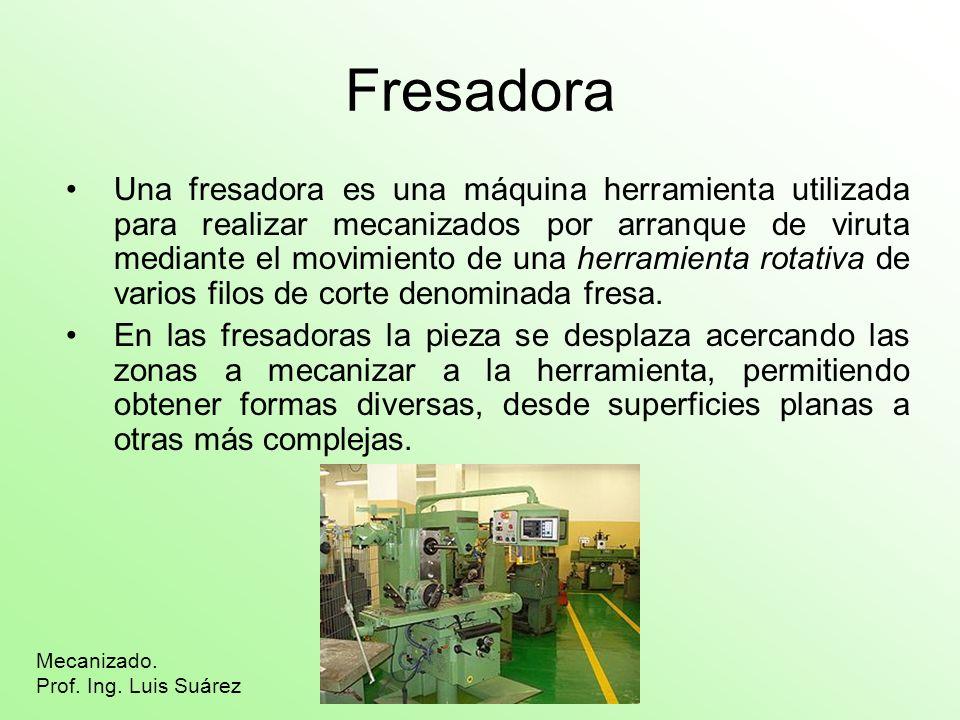 Fresadora Una fresadora es una máquina herramienta utilizada para realizar mecanizados por arranque de viruta mediante el movimiento de una herramient