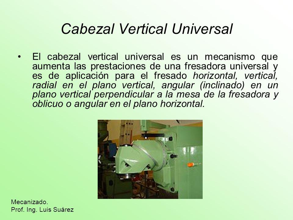 Cabezal Vertical Universal El cabezal vertical universal es un mecanismo que aumenta las prestaciones de una fresadora universal y es de aplicación pa