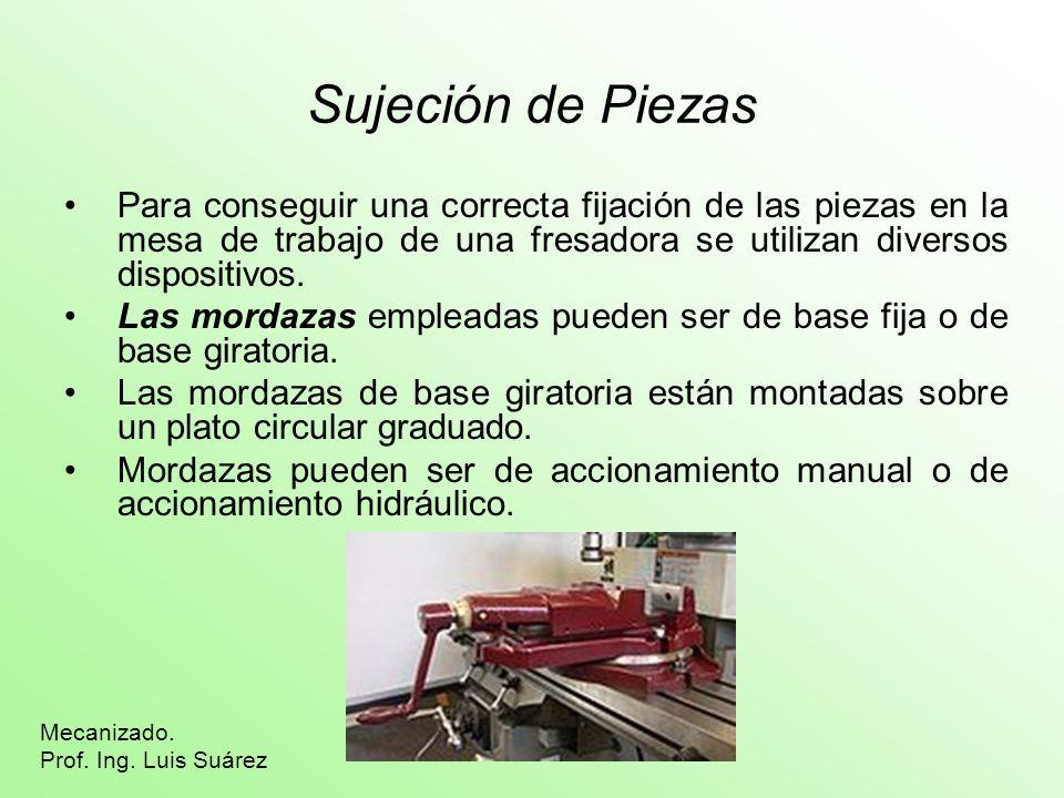 Sujeción de Piezas Para conseguir una correcta fijación de las piezas en la mesa de trabajo de una fresadora se utilizan diversos dispositivos. Las mo