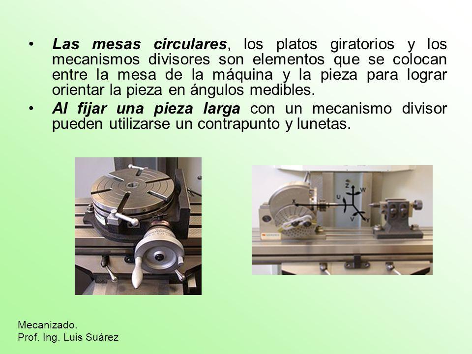 Las mesas circulares, los platos giratorios y los mecanismos divisores son elementos que se colocan entre la mesa de la máquina y la pieza para lograr