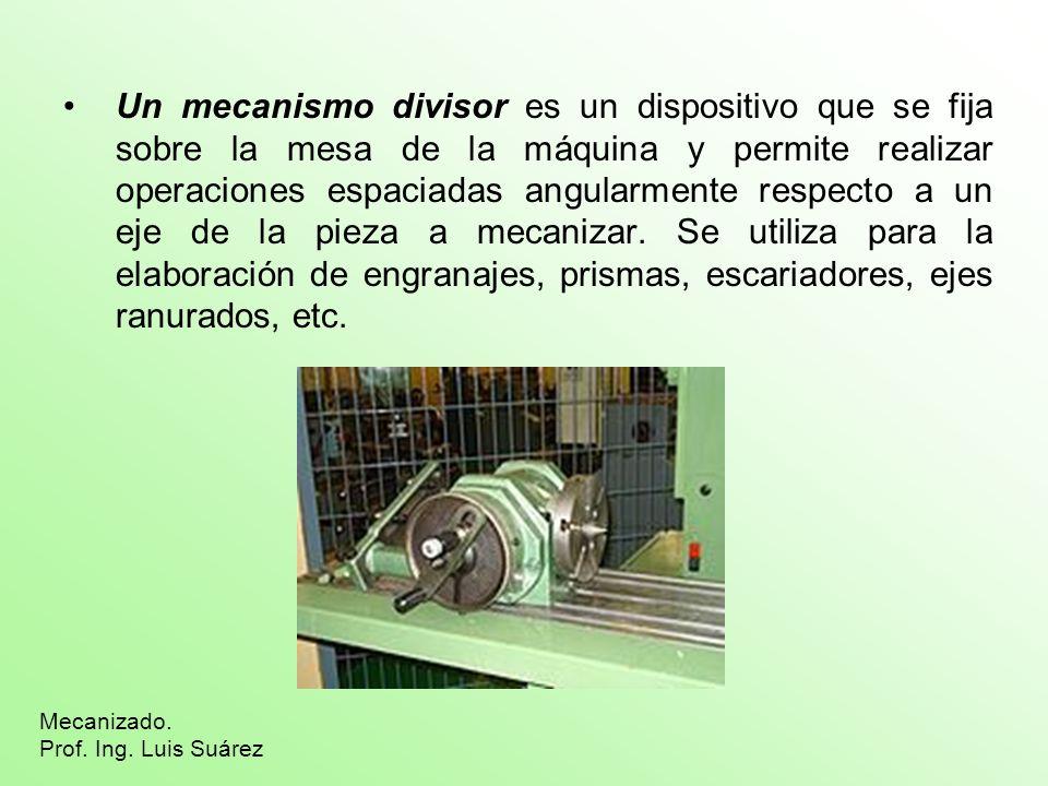 Un mecanismo divisor es un dispositivo que se fija sobre la mesa de la máquina y permite realizar operaciones espaciadas angularmente respecto a un ej
