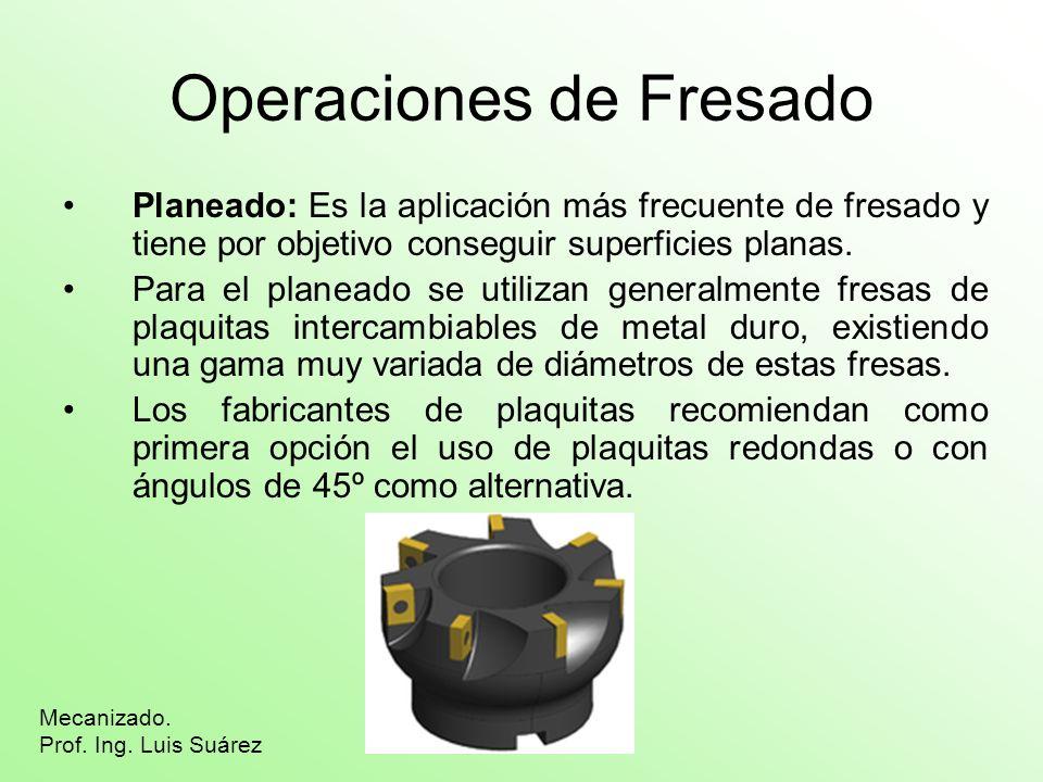Operaciones de Fresado Planeado: Es la aplicación más frecuente de fresado y tiene por objetivo conseguir superficies planas. Para el planeado se util
