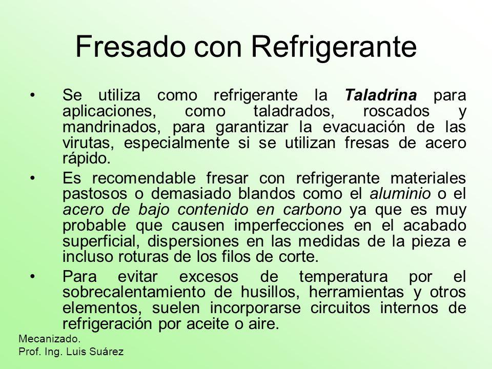 Fresado con Refrigerante Se utiliza como refrigerante la Taladrina para aplicaciones, como taladrados, roscados y mandrinados, para garantizar la evac