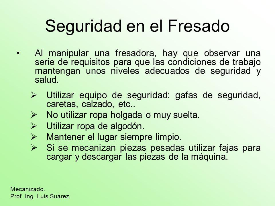 Seguridad en el Fresado Al manipular una fresadora, hay que observar una serie de requisitos para que las condiciones de trabajo mantengan unos nivele