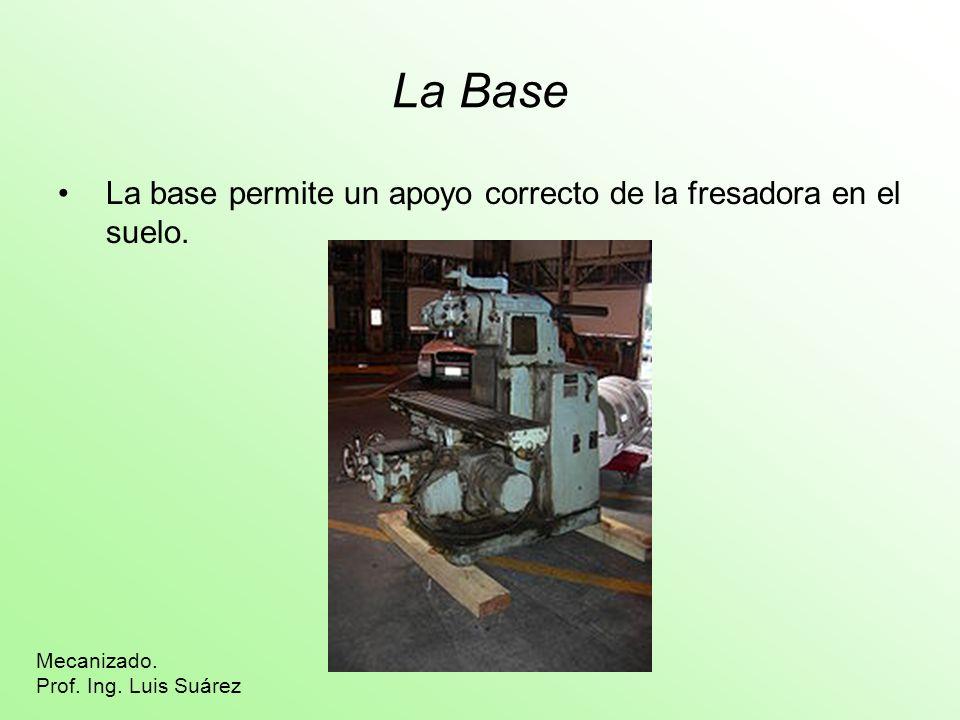 La Base La base permite un apoyo correcto de la fresadora en el suelo. Mecanizado. Prof. Ing. Luis Suárez
