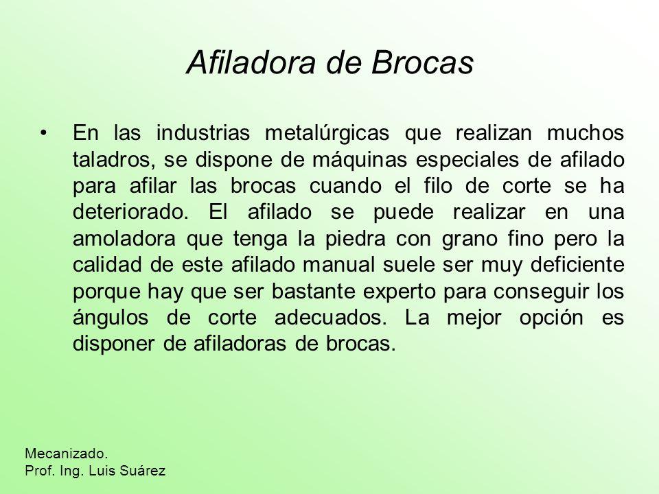 Afiladora de Brocas En las industrias metalúrgicas que realizan muchos taladros, se dispone de máquinas especiales de afilado para afilar las brocas c