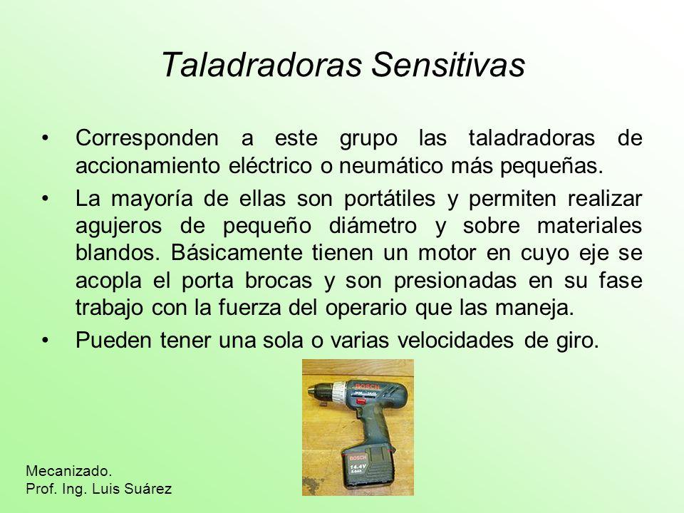 Taladradoras Sensitivas Corresponden a este grupo las taladradoras de accionamiento eléctrico o neumático más pequeñas. La mayoría de ellas son portát