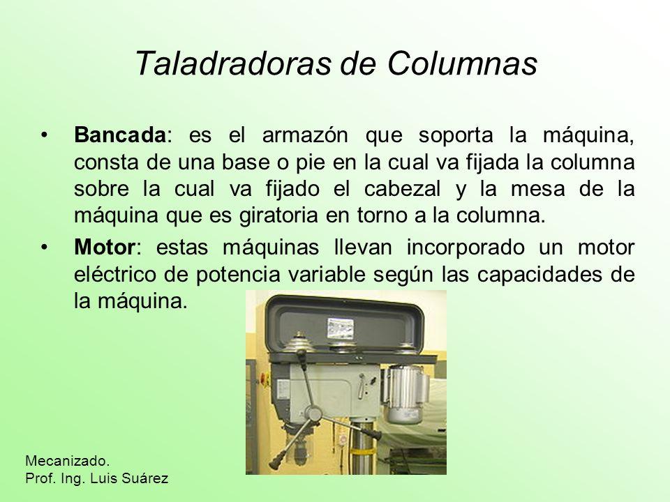 Taladradoras de Columnas Bancada: es el armazón que soporta la máquina, consta de una base o pie en la cual va fijada la columna sobre la cual va fija