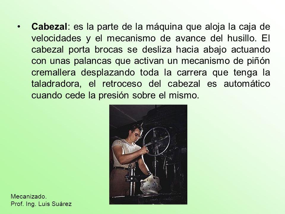 Cabezal: es la parte de la máquina que aloja la caja de velocidades y el mecanismo de avance del husillo. El cabezal porta brocas se desliza hacia aba