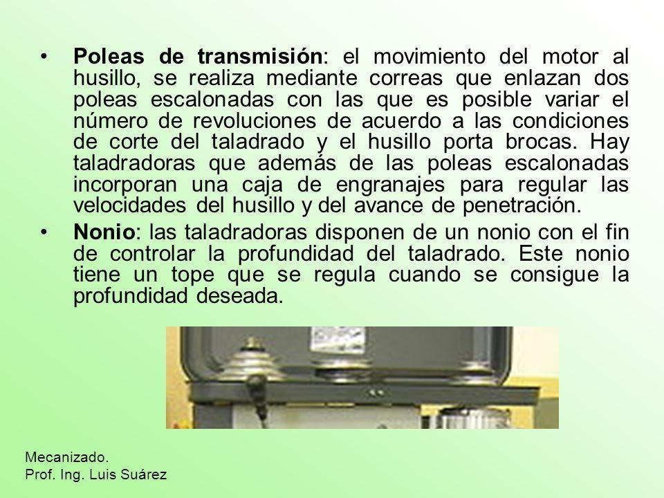 Poleas de transmisión: el movimiento del motor al husillo, se realiza mediante correas que enlazan dos poleas escalonadas con las que es posible varia