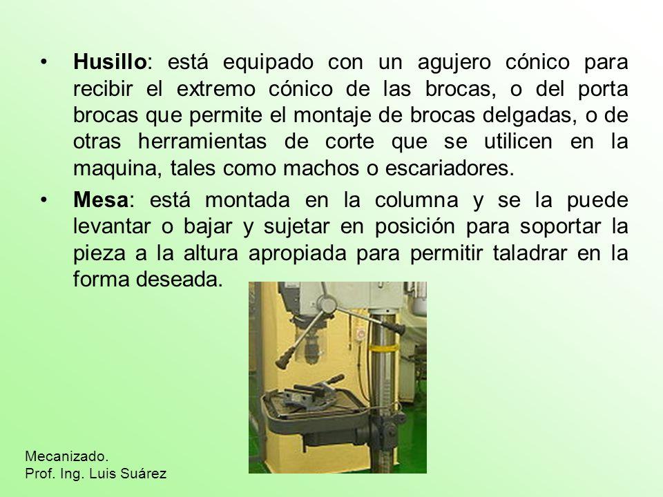 Husillo: está equipado con un agujero cónico para recibir el extremo cónico de las brocas, o del porta brocas que permite el montaje de brocas delgada