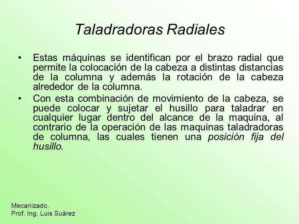 Taladradoras Radiales Estas máquinas se identifican por el brazo radial que permite la colocación de la cabeza a distintas distancias de la columna y