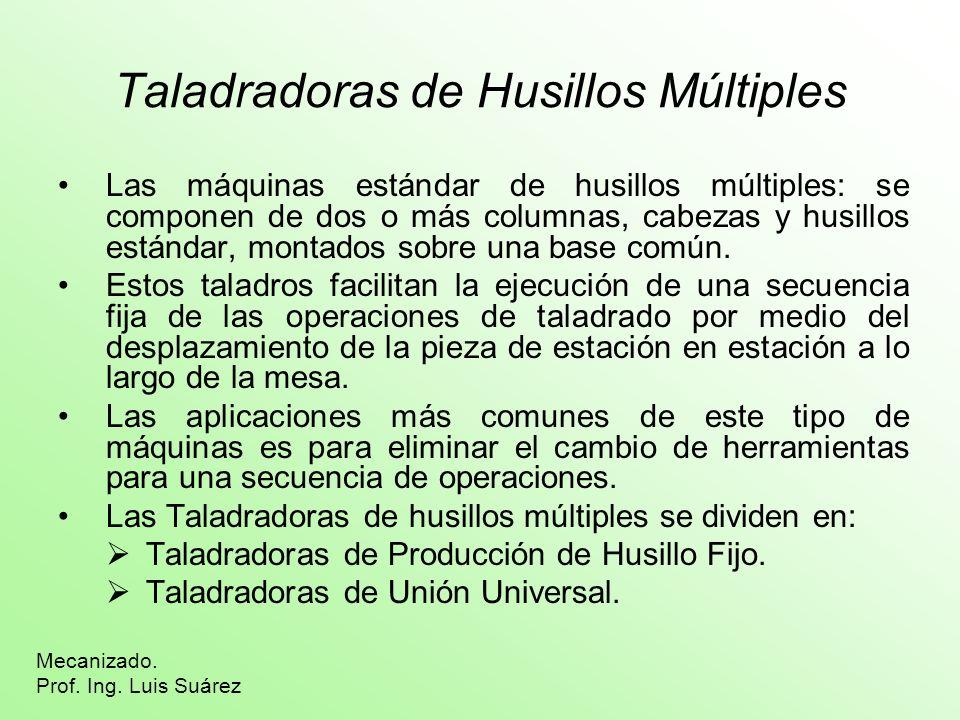 Taladradoras de Husillos Múltiples Las máquinas estándar de husillos múltiples: se componen de dos o más columnas, cabezas y husillos estándar, montad