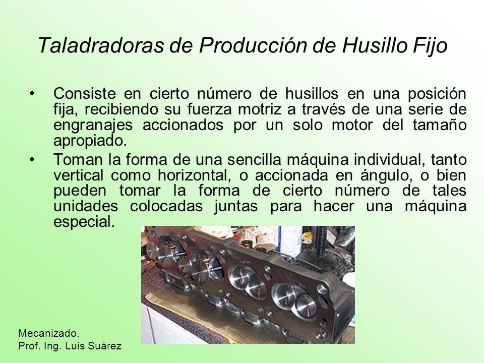 Taladradoras de Producción de Husillo Fijo Consiste en cierto número de husillos en una posición fija, recibiendo su fuerza motriz a través de una ser