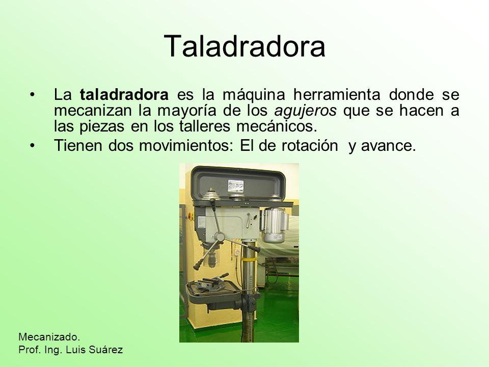 Taladradora La taladradora es la máquina herramienta donde se mecanizan la mayoría de los agujeros que se hacen a las piezas en los talleres mecánicos