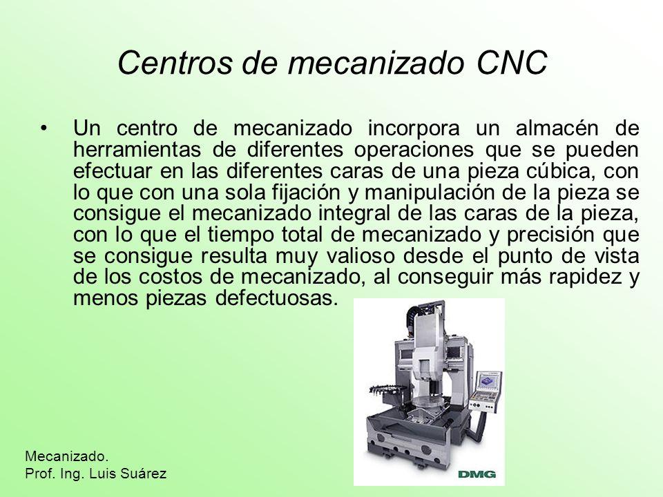Centros de mecanizado CNC Un centro de mecanizado incorpora un almacén de herramientas de diferentes operaciones que se pueden efectuar en las diferen