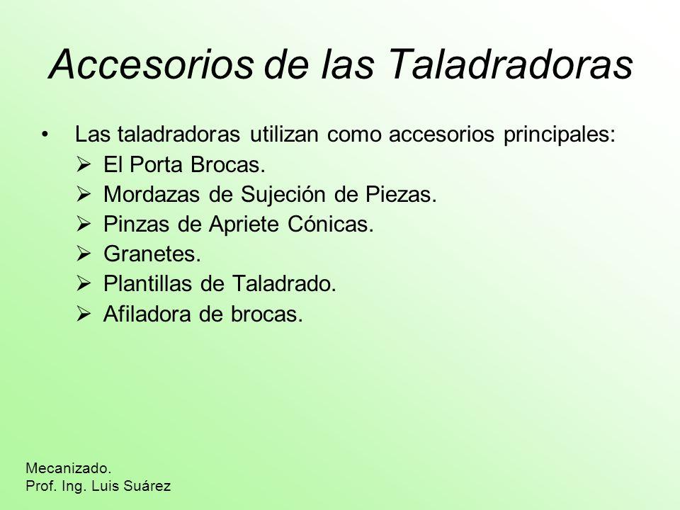 Accesorios de las Taladradoras Las taladradoras utilizan como accesorios principales: El Porta Brocas. Mordazas de Sujeción de Piezas. Pinzas de Aprie