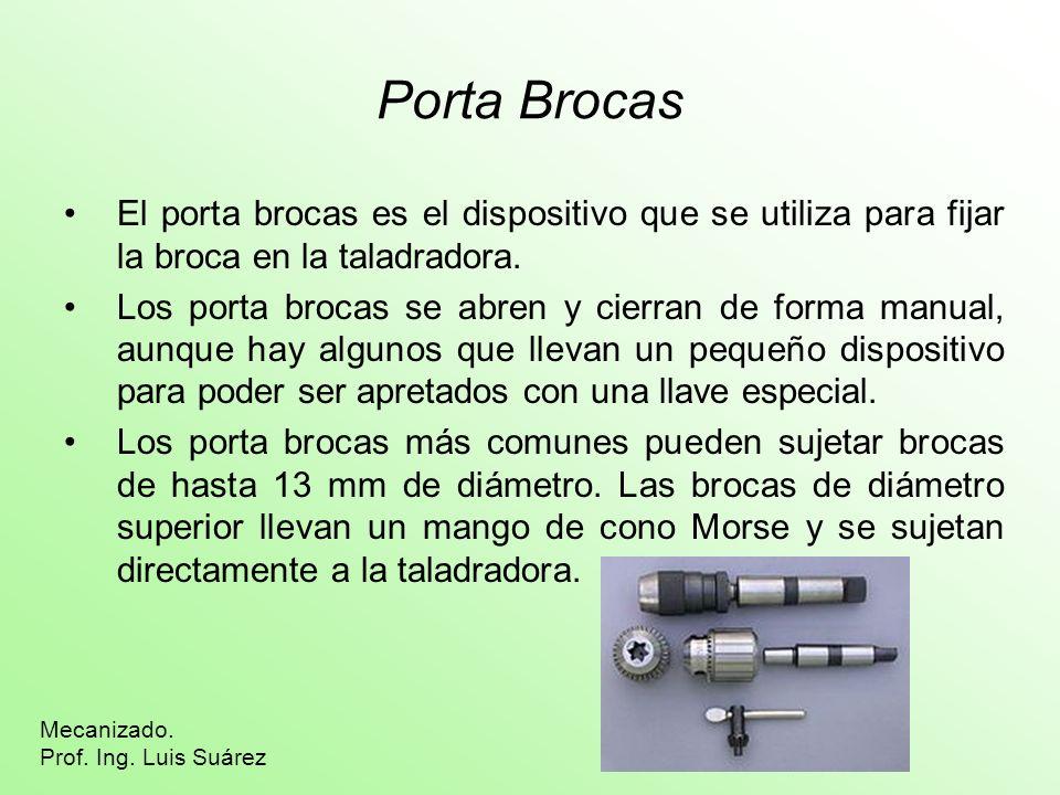 Porta Brocas El porta brocas es el dispositivo que se utiliza para fijar la broca en la taladradora. Los porta brocas se abren y cierran de forma manu