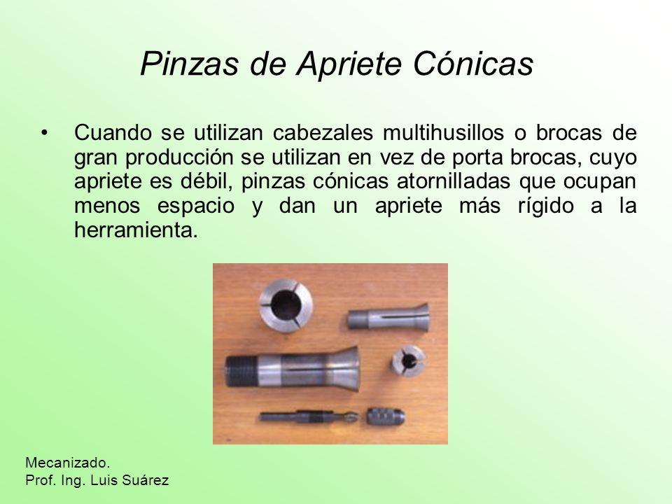 Pinzas de Apriete Cónicas Cuando se utilizan cabezales multihusillos o brocas de gran producción se utilizan en vez de porta brocas, cuyo apriete es d