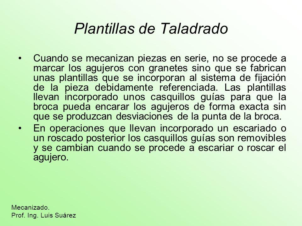 Plantillas de Taladrado Cuando se mecanizan piezas en serie, no se procede a marcar los agujeros con granetes sino que se fabrican unas plantillas que