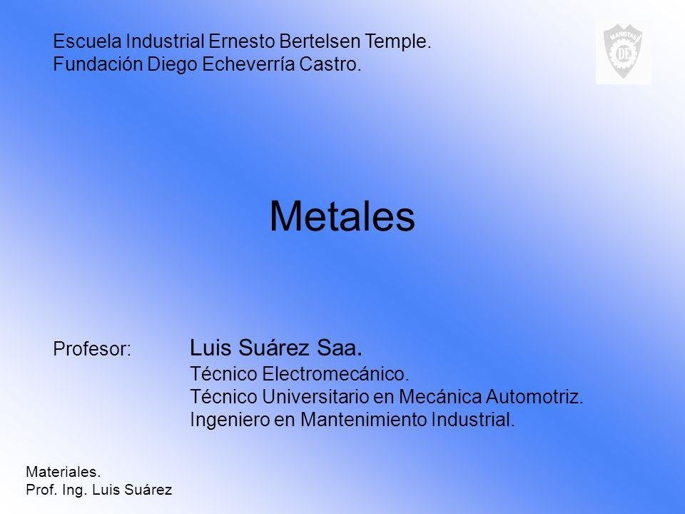 Metales Profesor: Luis Suárez Saa. Técnico Electromecánico. Técnico Universitario en Mecánica Automotriz. Ingeniero en Mantenimiento Industrial. Escue