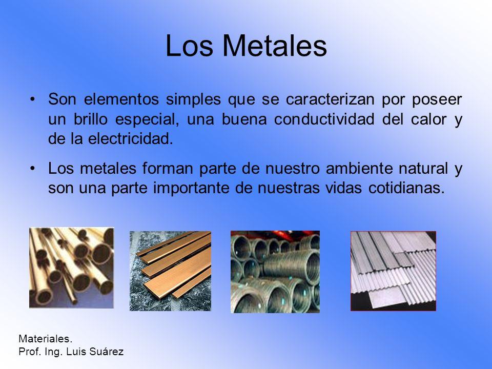 Los Metales Son elementos simples que se caracterizan por poseer un brillo especial, una buena conductividad del calor y de la electricidad. Los metal